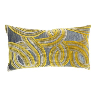 FirmaMenta Geometrical Blue and Yellow Lumbar Damask Velvet Pillow For Sale