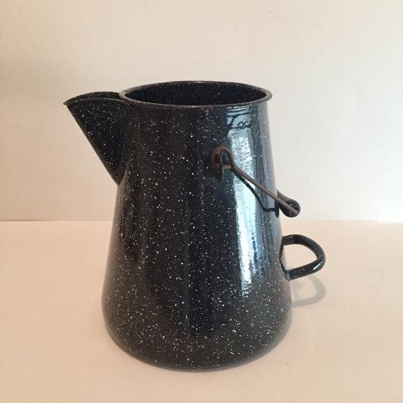 WW2 Navy Black Speckled Enamel Coffee Pot - Image 2 of 6