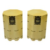 Image of Vtg Cerused Mahogany Chinese Storage Chest Trunk Octagonal Side Tables - a Pair For Sale