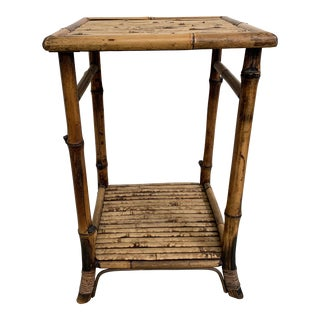 Vintage Boho Chic Burnt Bamboo Side Table For Sale