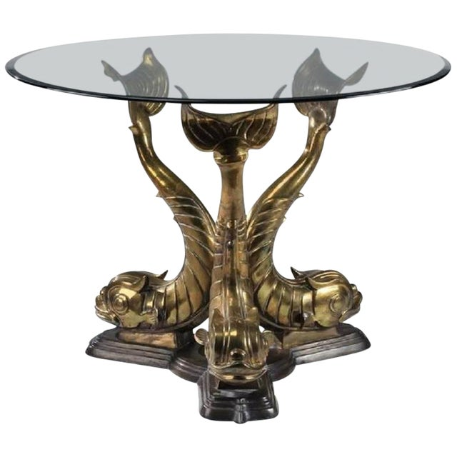 1975 Hollywood Regency Dolphin Center or Dining Table Base For Sale
