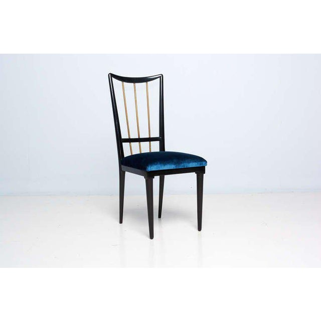 Modern Mahogany Table & Blue Velvet Dining Chair Set For Sale - Image 3 of 9