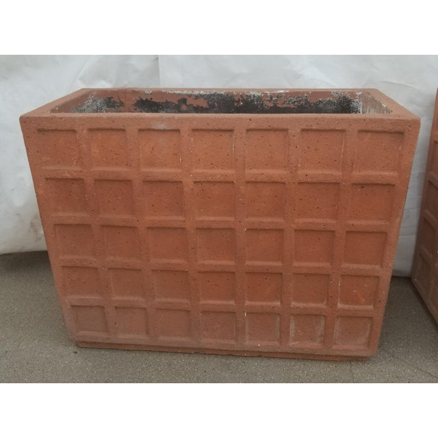 Architectural Large Rectangular Terracotta Planters - A Pair Modern/Contemporary/Transitional Sleek Orderly Design with...