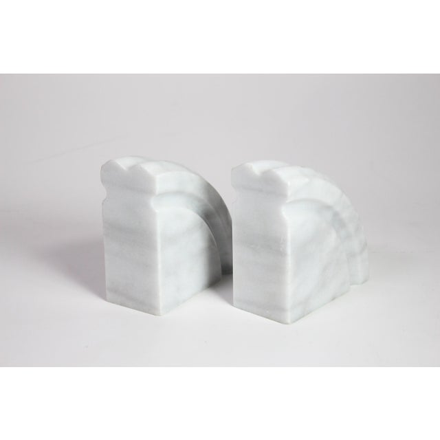 Contemporary 1980's Post Art Deco White Marble Bookends - a Pair For Sale - Image 3 of 5