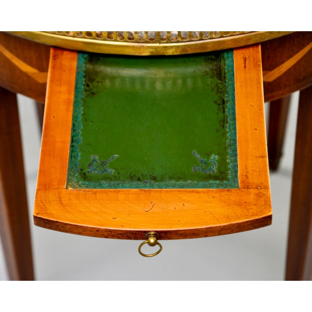 French Oak Marble Top Gueridon With Marquetry and Brass Gallery For Sale - Image 10 of 13