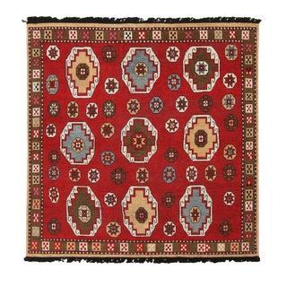 Burano Crimson Red Square Rug-6'5'x6'7' For Sale