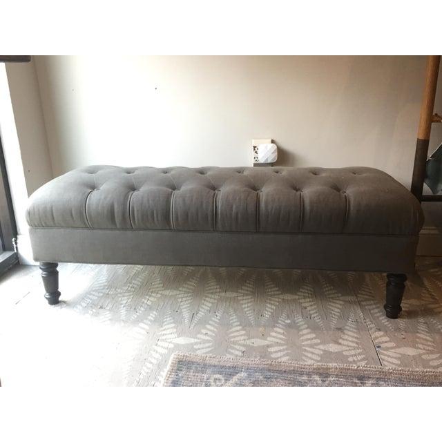 Cisco Brothers Elton Bristol Elephant Grey Upholstered Ottoman Bench