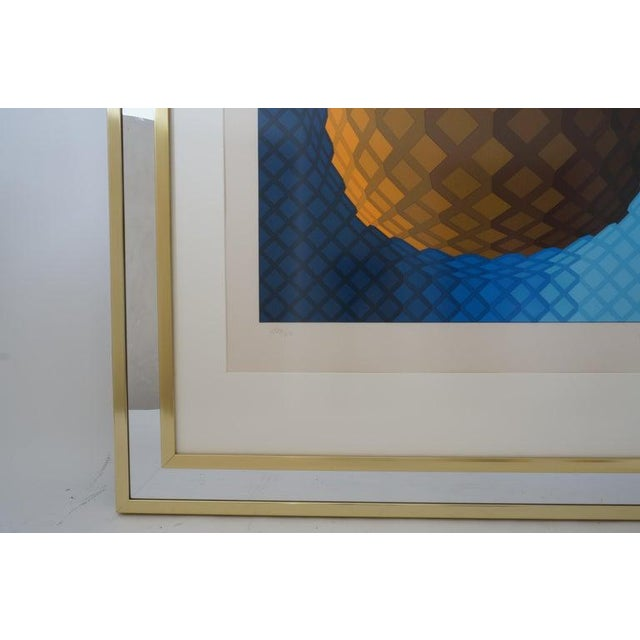 Vintage Vasarely Pencil Signed and Numbered Limited Edition 226/250 Op Art Original Print Custom Mirror Framed For Sale - Image 9 of 12