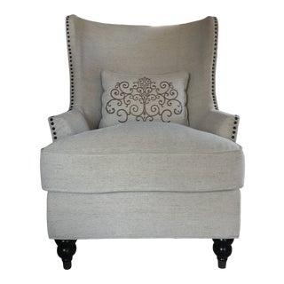 Transitional Wingback Chair With Nailhead Trim For Sale