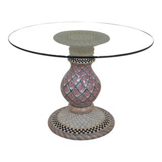 Mackenzie Childs Round Glass Top Pottery Base Dining Table For Sale