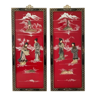 Ca 1950s Coromandel Style Chinese Red Lacquer With Stone Inlays Wood Panels - a Pair For Sale