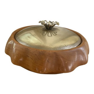 Aldo Tura Wood and Brass Bowl With Lid For Sale
