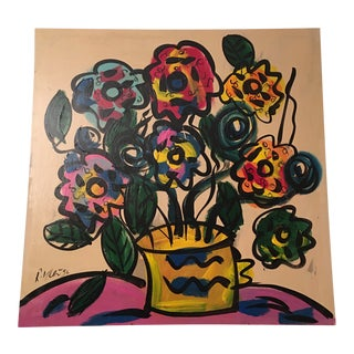 Vintage Peter Keil Original Canvas Colorful Flowers Painting For Sale