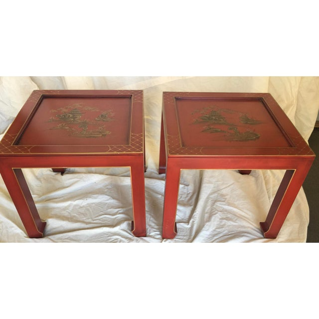 Asian Hand Painted Chinoiserie Tables Signed Retha For Sale - Image 3 of 9