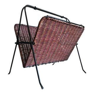 1950s French Wicker and Iron Magazine Rack For Sale