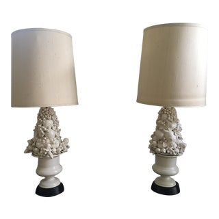 "Art Deco Italian Porcelain Lamp 1940s ""Still Life Grape"" - a Pair For Sale"