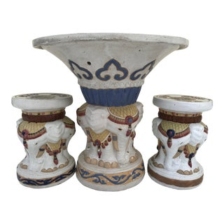 Antique Chinoiserie Terra-Cotta Elephant Table and Stools Seats For Sale