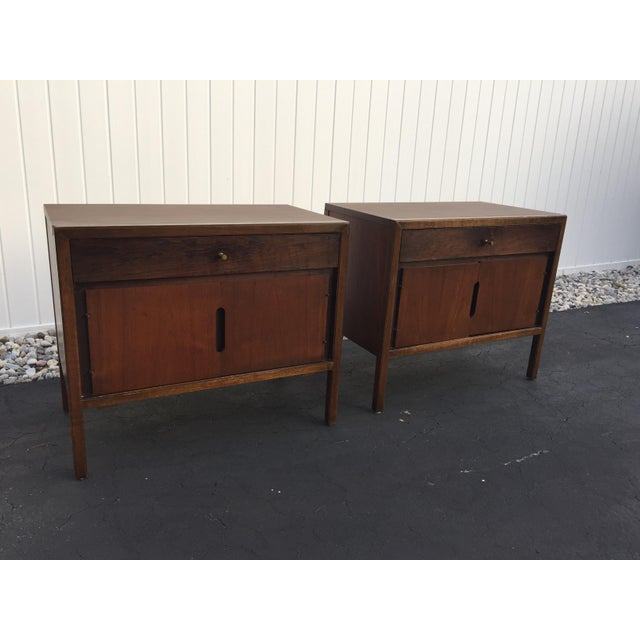 Pair of mid-century night stands by Basic Witz Nightstands feature laminate tops with good fronts and sides. Front of...