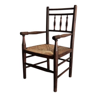 Antique English Child's Ladderback Arm Chair