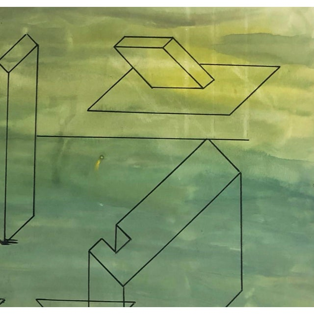 1950s Mid-Century Modern Geometric Painting For Sale - Image 4 of 7