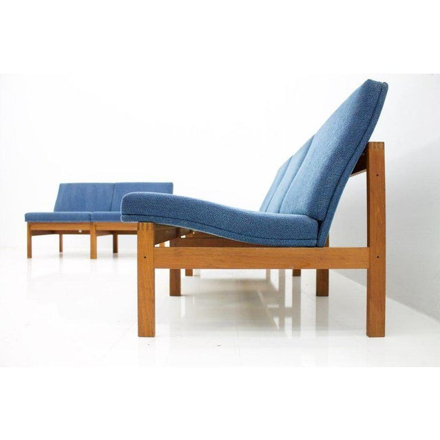 Modular seating group with five chairs and one corner table by Torben Lind and Ole Gjerløv-Knudsen. Solid Teak wood and...