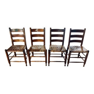 1820s Primitive Woven Seat Ladder-Back Chairs - Set of 4 For Sale