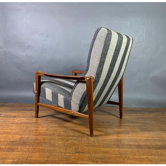 White 1960s Scandinavian Striped-Wool & Walnut Lounge Chair For Sale - Image 8 of 9