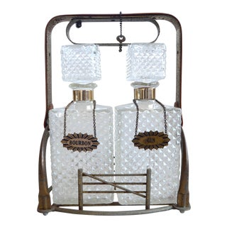 Vintage Bar Bourbon and Gin Glass Bottles Set With Rack, Locker and Keys For Sale