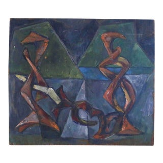"1954 Vintage E. Romano ""Abstractions"" Oil on Artist Board Painting For Sale"