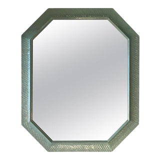Vintage Palm Beach Lacquered Green Large Wall Mirror For Sale
