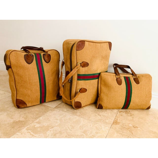 Vintage MCM Italian style set of quality full zipped Soft Luggage from the 1960s. Body made of woven jute color tan brown,...