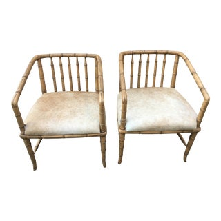 Striped Bamboo Chairs With Upholstered Hide Seats - A Pair