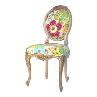 Boho Chic Embroidered Side Chair For Sale