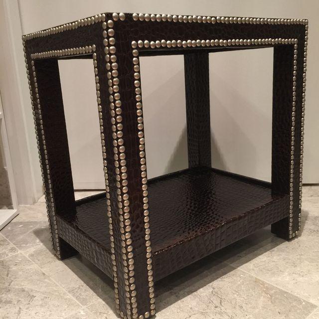 Crocodile-Embossed Leather Side Table - Image 6 of 10