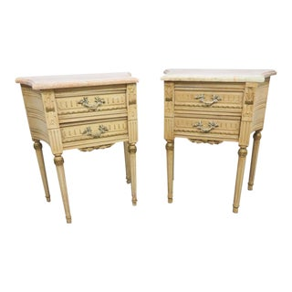 Louis XIV Style Marble Top Nightstands - a Pair
