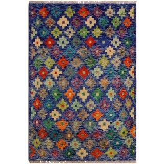1990s Southwestern Balouchi Alesia Blue/Ivory Wool Rug - 2'6 X 4'0 For Sale