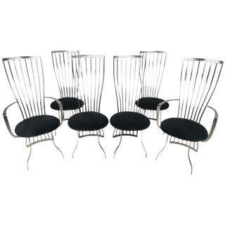 Modern Sculptural Steel Dining Chairs - Set of 6 For Sale