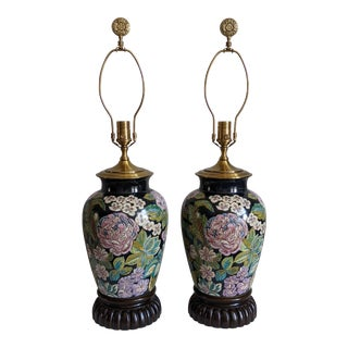 1990s Wildwood Black Chinoiserie Floral Finial Lamps - a Pair For Sale