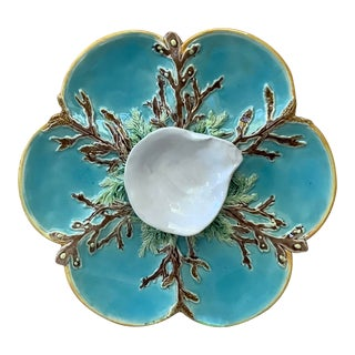 1878 George Jones Aqua Majolica Oyster Plate For Sale