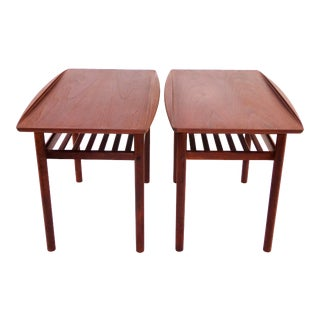 1960s Danish Modern Grete Jalk for Poul Jeppesen Side End Tables - a Pair