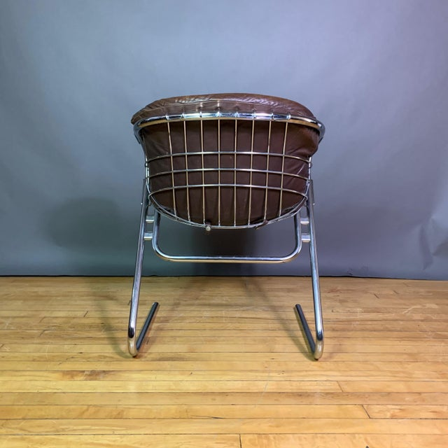 Brown Gaston Rinaldi 1970s Leather Wireframe Armchair, Rima Italy For Sale - Image 8 of 12