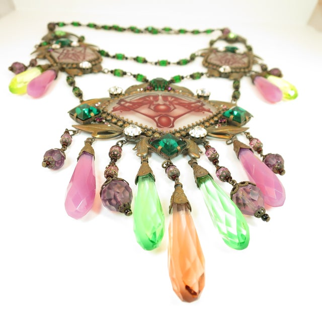 Art Deco Massive Czech Art Deco Egyptian Revival Painted Glass & Crystal Necklace 1920s For Sale - Image 3 of 12