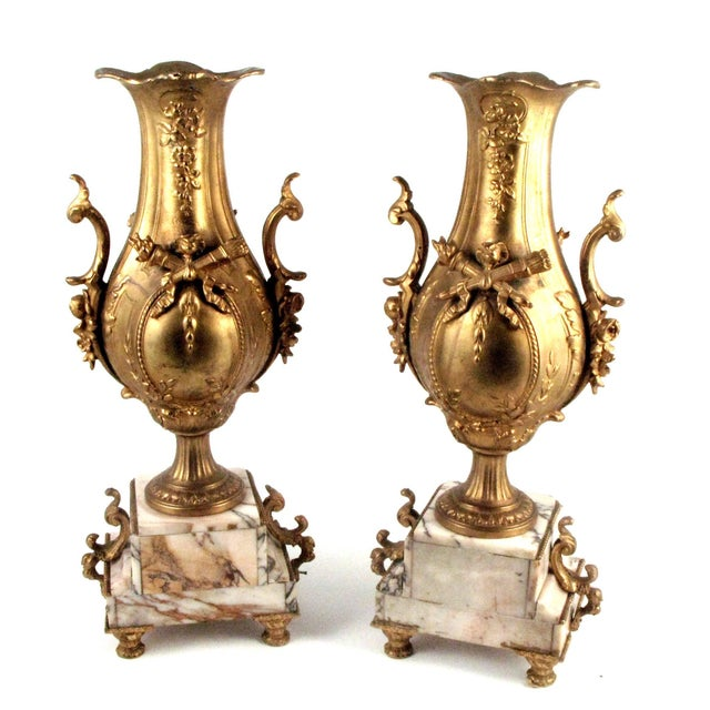 French Gold Gilt Urn Garniture Vases - A Pair - Image 5 of 9