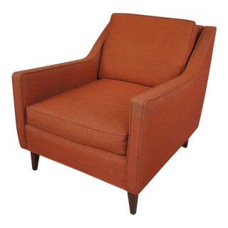 Milo Baughman Style Rust Wool Armchair For Sale
