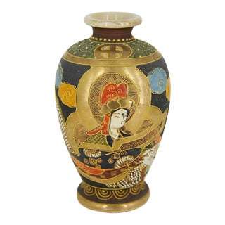 1920s Japanese Satsuma Vase With Applied Decoration For Sale