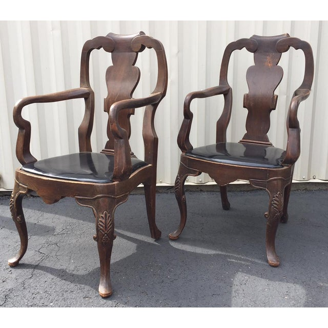 For sale is a pair of vintage/antique armchairs that would be great for dining or side chairs. I'm not sure of the wood...