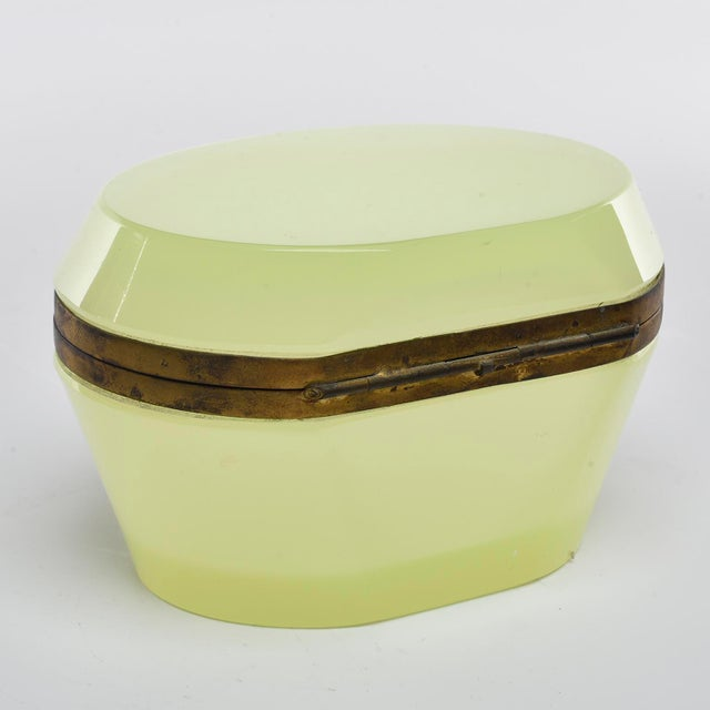 French Oval Uranium Opaline Glass and Brass Box For Sale - Image 4 of 8