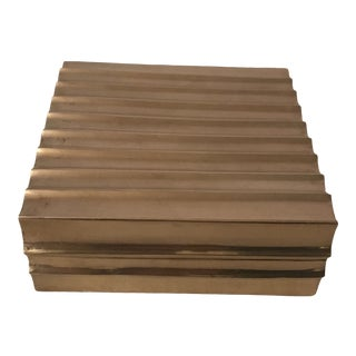 Modern Fluted Brass Box For Sale