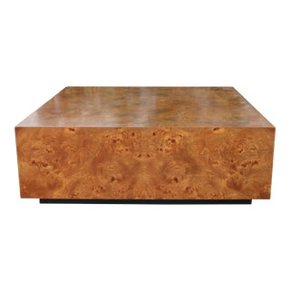 Milo Baughman Burlwood Platform Coffee Table