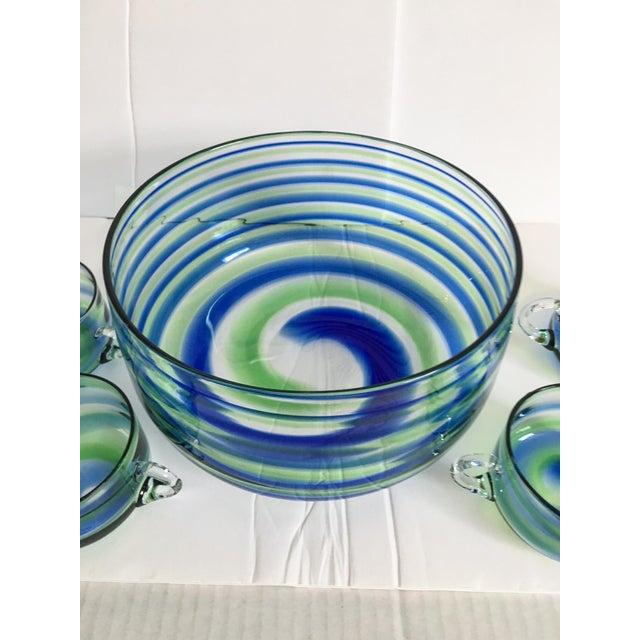 Mid-Century Artisanal Glass Swirl Punch Bowl Set - Set of 5 - Image 3 of 6
